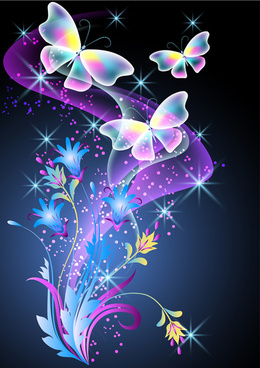 beautiful butterflies with flowers vector background