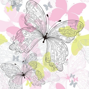 beautiful butterfly pattern 02 vector