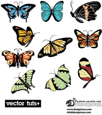 beautiful butterfly stickers vector