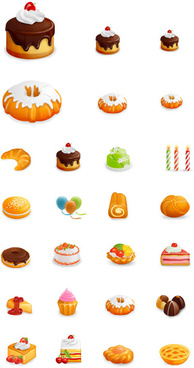 beautiful cakes icon vector graphics