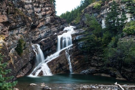 beautiful canyon cascade fall forest landscape