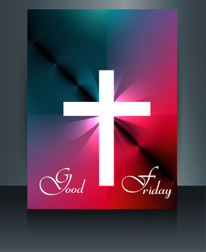 beautiful card for good friday brochure template cross vector