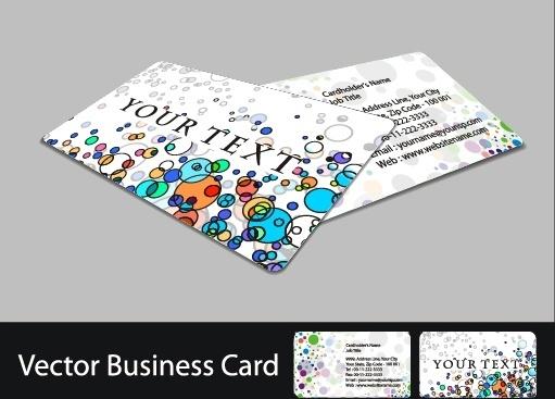 name card templates bright colorful modern flat circles