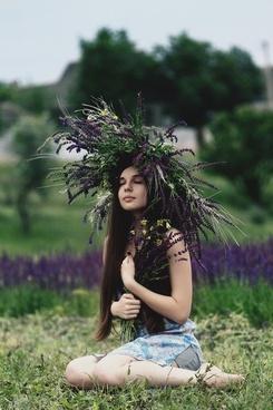 beautiful carefree dress fashion field flower girl