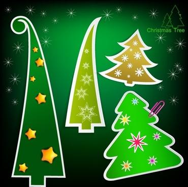 beautiful cartoon christmas tags vector