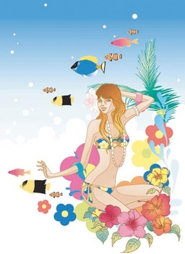 beautiful cartoon fashion crush 04 vector