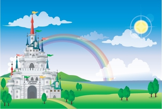 ancient castle painting rainbow decor colorful design