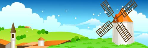 beautiful cartoon landscapes vector set