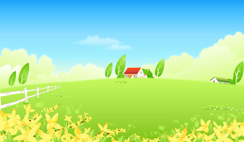 beautiful cartoon landscapes vector set