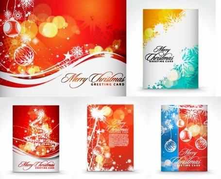 xmas card templates colorful sparkling vivid decor