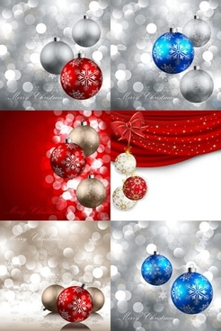 xmas background templates elegant bokeh decor baubles icons