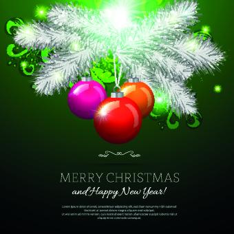 beautiful christmas baubles elements vector backgound