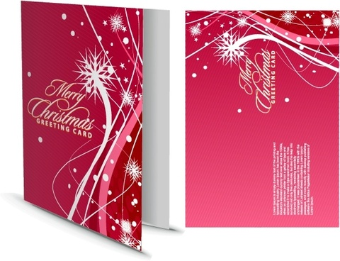 christmas card template dynamic snowflakes decor pink design