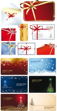beautiful christmas cards with envelopes vector