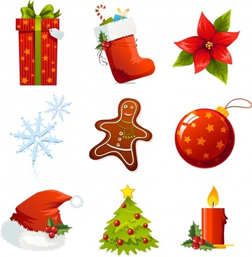 christmas design elements modern colored symbols sketch