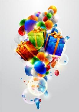 beautiful christmas gift box 01 vector