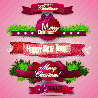 beautiful christmas robbon banners vector