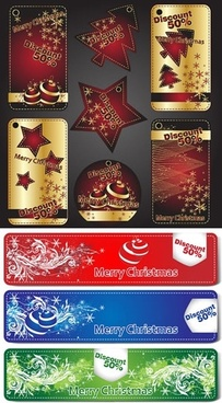 christmas sales tags elegant red golden shapes design