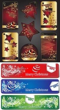 beautiful christmas tags vector