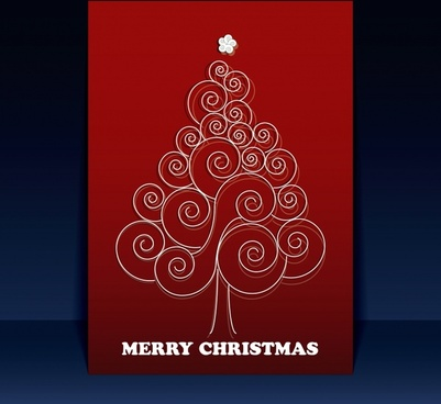 beautiful christmas tree greeting card vector