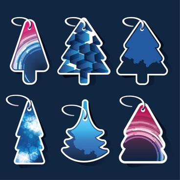 beautiful christmas tree label 01 vector