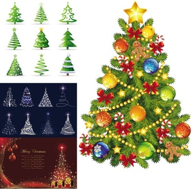 beautiful christmas tree vector