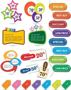 beautiful color labels 01 vector