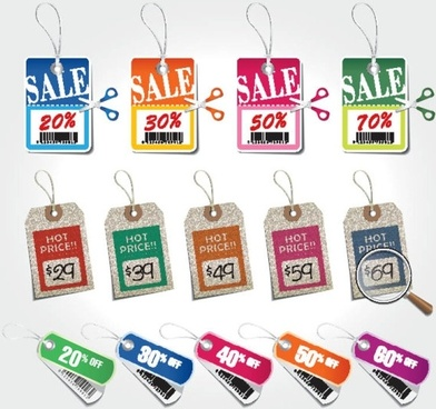 beautiful color labels 03 vector