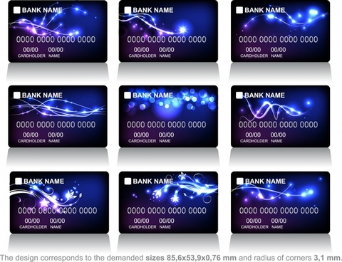 bank card template dynamic sparkling light elegant dark