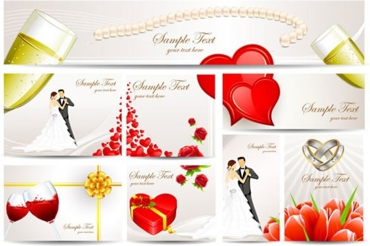beautiful couple wedding greeting card vector