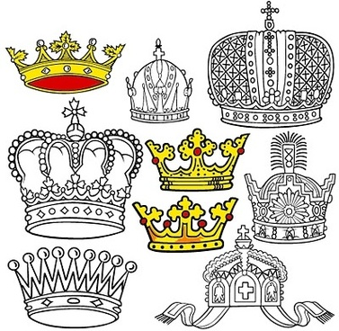 crown sketch collection black white and colored style