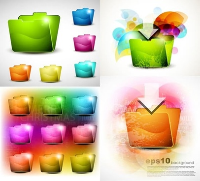 computing folder icons shiny colored 3d sketch