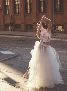 beautiful ballet dancer performing on street
