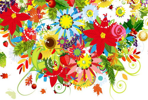 beautiful decoration flowers vector