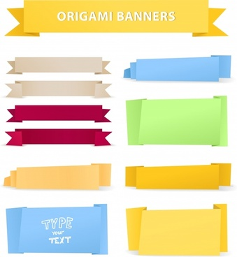 ribbon banner templates colored plain origami shapes