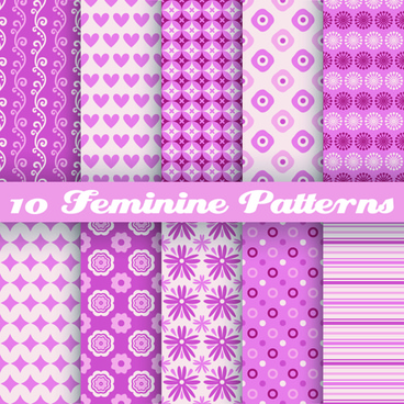 beautiful decorative pattern seamless vector set