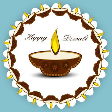 beautiful diwali card artistic diya vector design