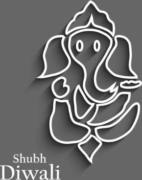 beautiful diwali card colorful artistic lord ganesha background