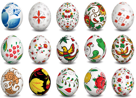 beautiful easter eggs vectors set