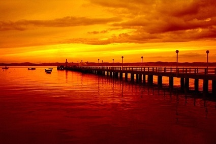 beautiful evening pier picture