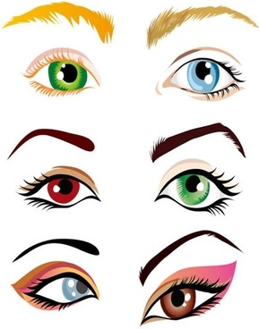 female eyes icons colorful shapes sketch
