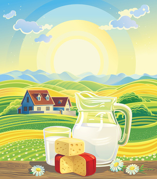 beautiful farm scenery vectors