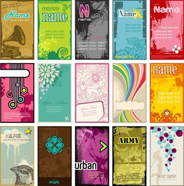 card templates colorful retro modern decor