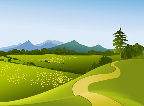 Landscape Illustration Vector Free: Green Field Landscape Free Vector Download (8,215 Free