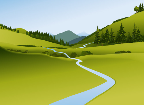 beautiful fields landscapes vector set