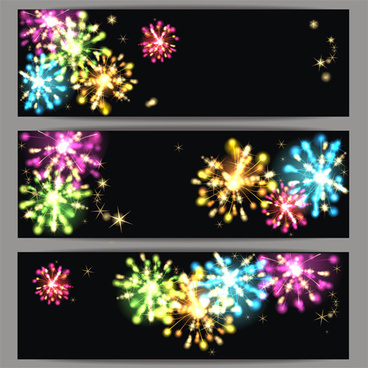 beautiful fireworks vectors banners