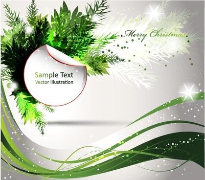 christmas background elegant sparkling curves motion leaf decor