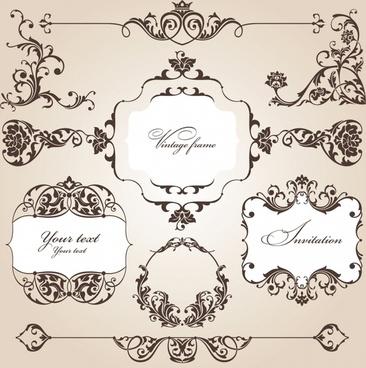 card design elements elegant retro seamless symmetric shapes