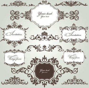 document decor elements classical elegant symmetric seamless shapes