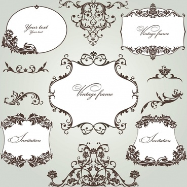 document decorative elements symmetrical curves elegant classic